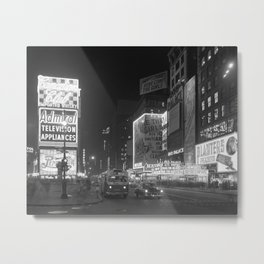Times Square at Night, 1953. Vintage Photo Metal Print