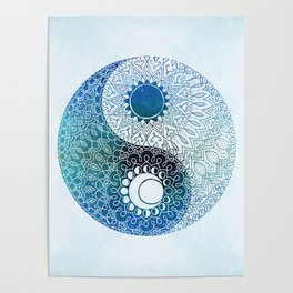 moon and sung (blue) Poster