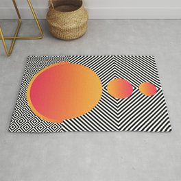 Monochrome Geometric Pattern Clash Abstract Ombre Circles Rug