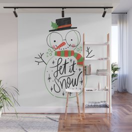 Let it snow cute Christmas snowman With Lettering Wall Mural