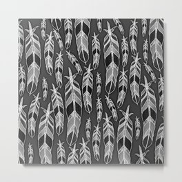 Black and white pattern of feathers Metal Print