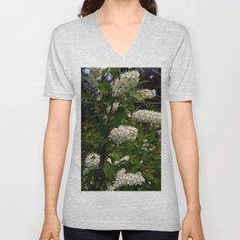 White Cluster Blossoms Unisex V-Neck