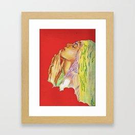 Red Woman Portrait Framed Art Print