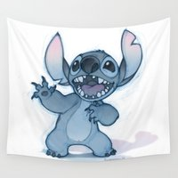 stitch Wall Tapestries featuring Stitch by Belén Ortega
