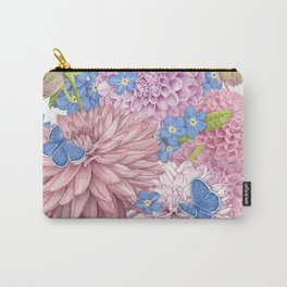 Dahlias and Forget Me Nots Carry-All Pouch