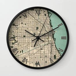 Chicago City Map of the United States - Vintage Wall Clock