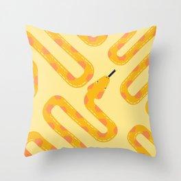 Yellow snake pattern Throw Pillow