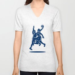 Basketball Player Dunk Block Retro Unisex V-Neck