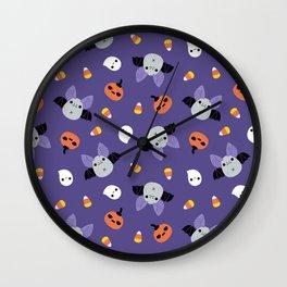 Purple Kawaii Halloween Bat Pattern Wall Clock