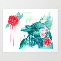 About Raven and Roses Art Print