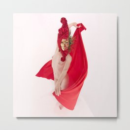 1545s-MM Red Mask and Drape High Key Art Nude on White Metal Print