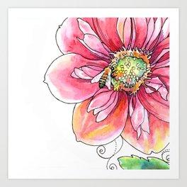 """bee light-hearted"" (no text) botanical watercolor art Art Print"