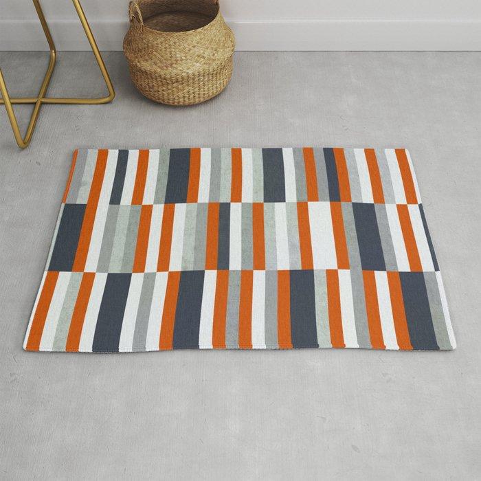 Orange Navy Blue Gray Grey Stripes