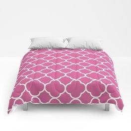 Quatrefoil Shape (Quatrefoil Tiles) - Pink White Comforters