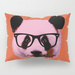 Panda with Nerd Glasses in Orange Pillow Sham