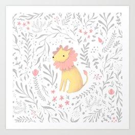 Lion in Foliage Art Print