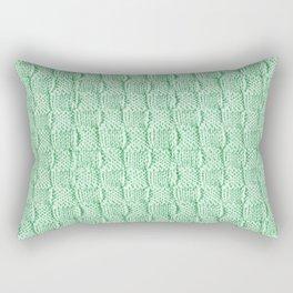 Soft Green Knit Textured Pattern Rectangular Pillow