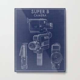 Super 8 film camera blueprint Metal Print