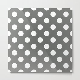 Nickel - grey - White Polka Dots - Pois Pattern Metal Print