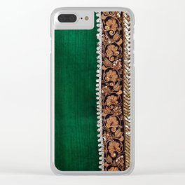 -A11- Tradtional Textile Moroccan Green Artwork. Clear iPhone Case