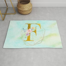 Gold Foil Alphabet Letter F Initials Monogram Frame with a Gold Geometric Wreath Rug