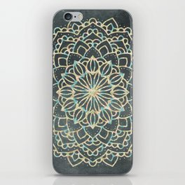 Sea Shimmer Mandala - Gold + Turquoise iPhone Skin