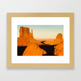 Golden Hour at Monument Valley - Arizona and Utah Border Framed Art Print