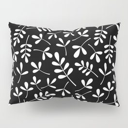 White on Black Assorted Leaf Silhouette Pattern Pillow Sham