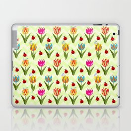 Decorative fantasy tulips on a chevrons background Laptop & iPad Skin