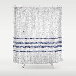 Vintage Farmhouse Grain Sack Indigo Blue Shower Curtain