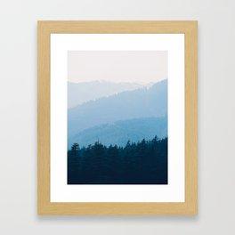Parallax Mountain Hills Blue Hues Minimal Modern Landscape Photo Framed Art Print