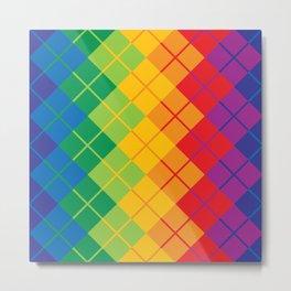 Rainbow Argyle Metal Print