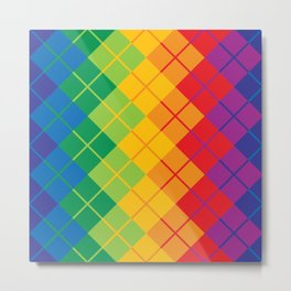 Rainbow Argyle Metal Print