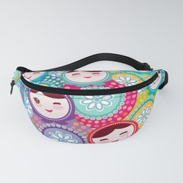 Russian dolls matryoshka, pink blue green colors colorful bright pattern Fanny Pack