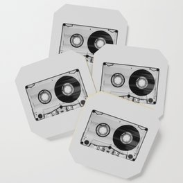 Vintage 80's Cassette - Black and White Retro Eighties Technology Art Print Wall Decor from 1980's Coaster