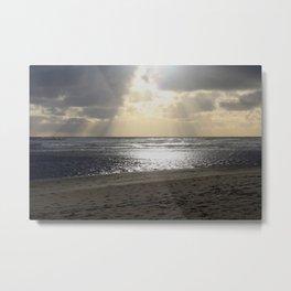 Sparkly Beach Sunset in Siletz Bay, Oregon Metal Print