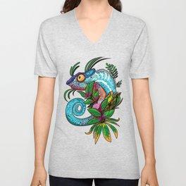 Rainbow Chameleon Unisex V-Neck