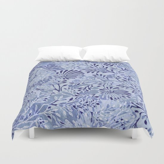 flowers and branches ,soft blue and silver accents Duvet Cover