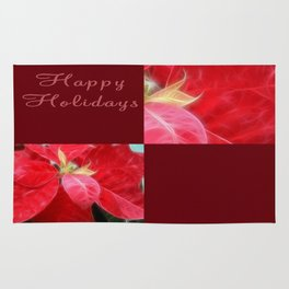 Mottled Red Poinsettia 2 Happy Holidays Q10F1 Rug