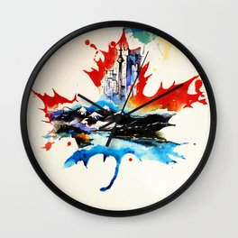 Vintage Canada Maple Leaf Travel Love Watercolor Wall Clock