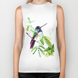 Hummingbird and Green Foliage, tropical green design Biker Tank