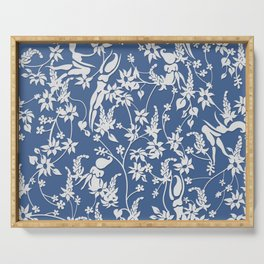 Papercut Garden, blue and white Serving Tray