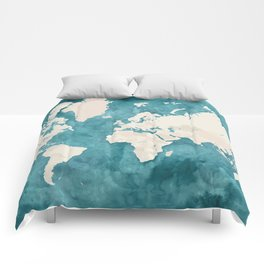 Teal watercolor and light brown world map Comforters