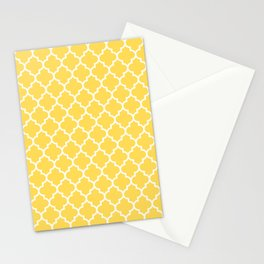 White Moroccan Quatrefoil On Mustard Yellow Stationery Cards