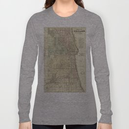 Vintage Map of Chicago (1857) Long Sleeve T-shirt