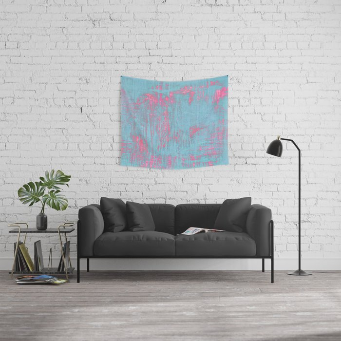Fearless in Brilliant Pink and Blue Wall Tapestry