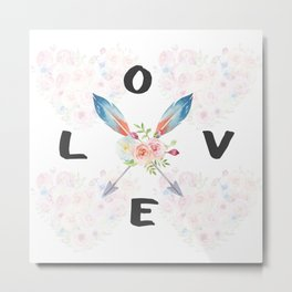 Watercolor Roses Arrows Love Typography Metal Print