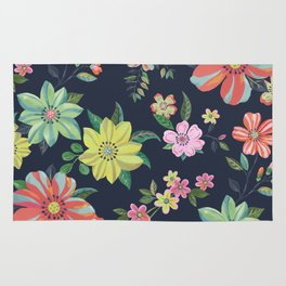 Dramatic Floral Pattern Rug