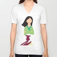 mulan V-neck T-shirts featuring Mulan by Adrian Mentus