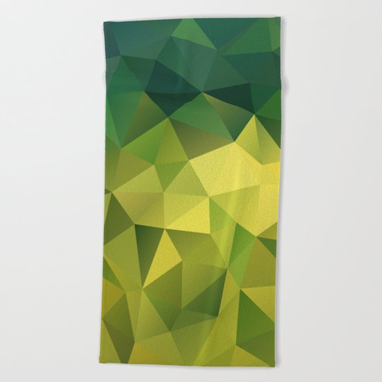 Abstract of triangles polygon in green yellow lime colors Beach Towel